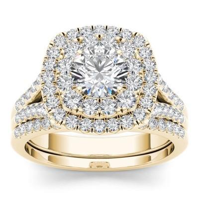 Runder Schliff Weißem Saphir 925 Sterling Gelbgold Silber Doppelt Halo Ring Sets