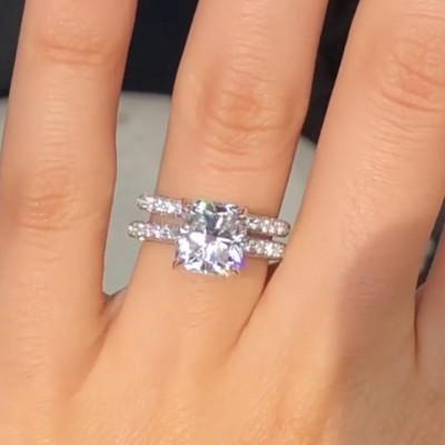 Kissen Schliff Weißem Saphir 925 Sterling Silber Ring Sets