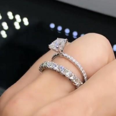 Strahlenden Schliff Weißer Saphir 925 Sterling Silber Ringe Set