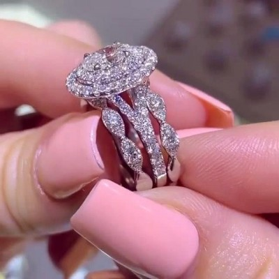 Ovalschliff Weißer Saphir Sterling Silber Doppelt Halo 3 Stück Ringe Set