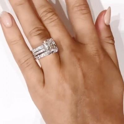 Strahlenden Schliff Weißer Saphir 925 Sterling Silber 3-Teilige Ringe Set