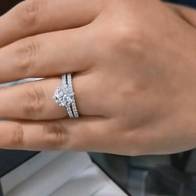 Runder Schnitt Weißer Saphir 925 Sterling Silber Ringe Set