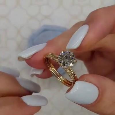 Runder Schnitt Weißer Saphir Gold 925 Sterling Silber Ringe Set