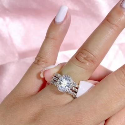Ovale Schnitt Weißer Saphir  925 Sterling Silber 3-Teilige Halo Ringe Set