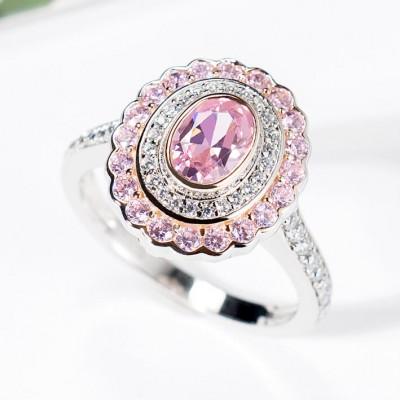 Ovale Schliff Rosa Saphir 925 Sterling Silber Doppelter Heiligenschein Verlobungsringe