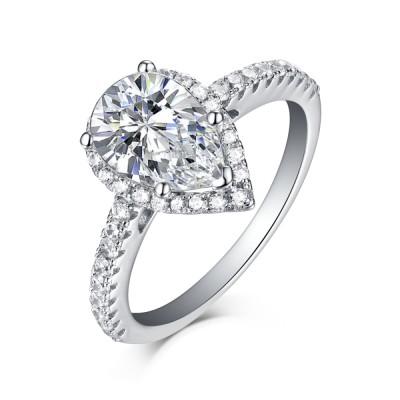 Pear Schliff 925 Sterling Silber Weißem Saphir Halo Verlobungsringe