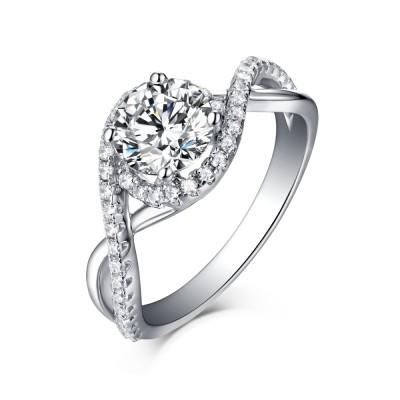 Einzigartiger runder Schliff 925 Sterling Silber Halo Weißem Saphir Verlobungsringe