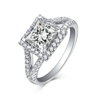 Princess Schliff Halo 925 Sterling Silber Weißemer Saphir Verlobungsringe