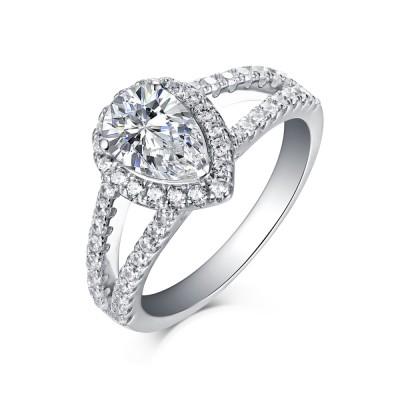 Birne 925 Sterling Silber Halo Weißem Saphir Verlobungsringe