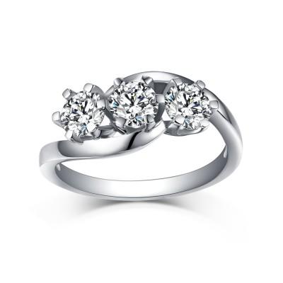 Runder Schliff aus Weißemem Saphir 925 Sterling Silber Three Zirkonia Verlobungsringe