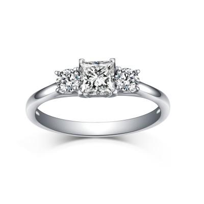 Princess & Runder Schliff Weißemer Saphir 925 Sterling Silber Three Zirkonia Verlobungsringe