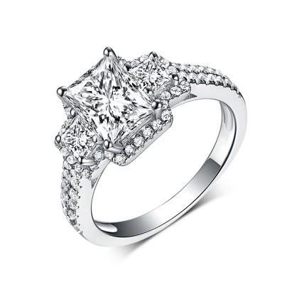SmaragdSchliff Weißemer Saphir Drei Zirkonia 925 Sterling Silber Verlobungsringe
