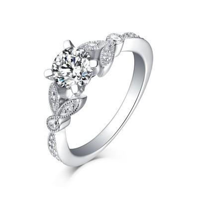 Süße Runde 925 Sterling Silber Weißemer Saphir Verlobungsringe