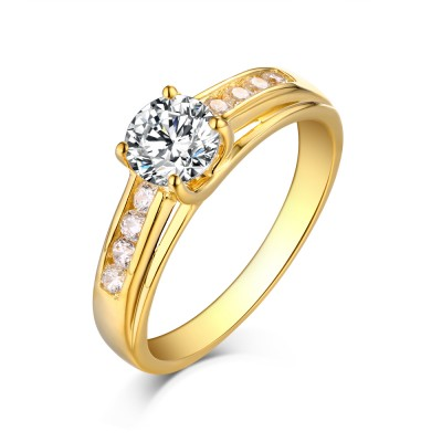 Runder Schliff Gelbgold 925 Sterling Silber Weißem Saphir Verlobungsringe