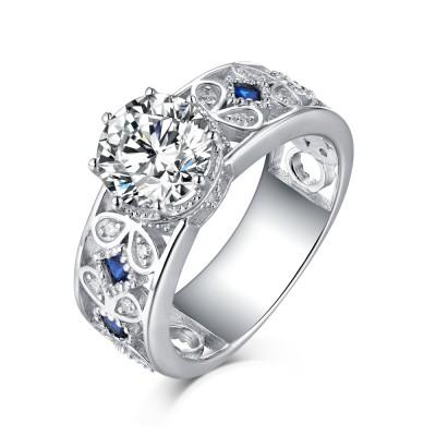 Runder Schliff 925 Sterling Silber Saphir & Weißemer Saphir Verlobungsringe