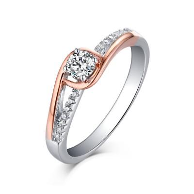 Rundschnitt RoséGelbgold 925 Sterling Silber Weißemer Saphir Verlobungsringe