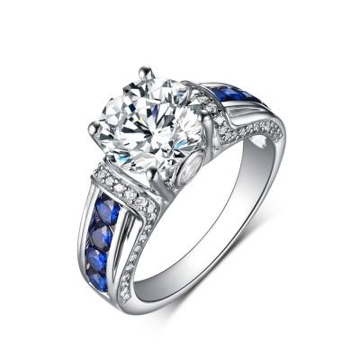 Runder Saphir und Weißemer Saphir 925 Sterling Silber Verlobungsringe