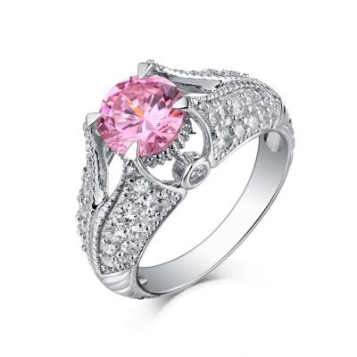 Rundschnitt S925 Sterling Silber Rosa saphir Art Deco Verlobungsringe