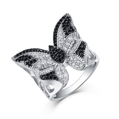 Rundschnitt S925 Sterling Silber Schwarze & Weißem Saphir Butterfly Ringe