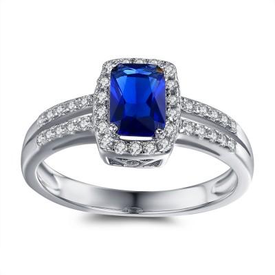 Kissen Schliff blau and Weißem Saphir Sterling Silber Verlobungsringe