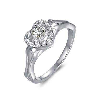 Runder Schliff 1 / 10CT Zirkonia Heart umrahmt Sterling Silber Verlobungsringe