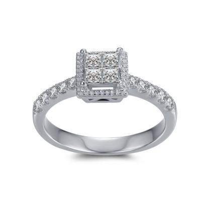 1 / 4CT Princess Schliff Zirkonia Sterling Silber Verlobungsringe
