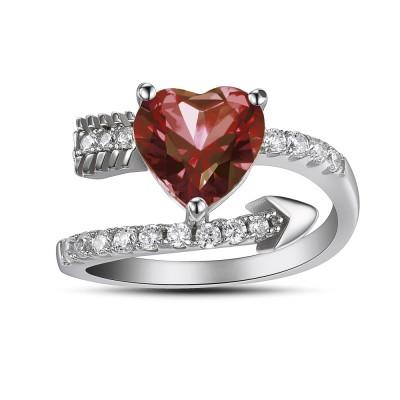 Herz Schliff Rubin 925 Sterling Silber Versprechen Ringe
