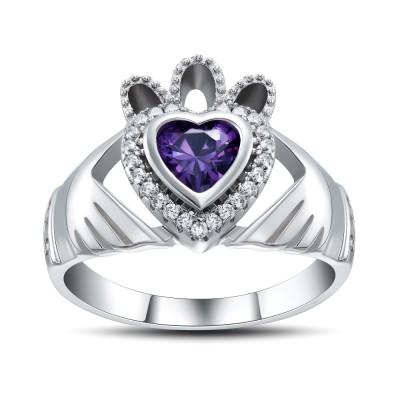 Herz Amethyst 925 Sterling Silber Versprechen Ringe für Sie
