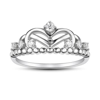 KronenSchliff Weißemer Saphir 925 Sterling Silber Versprechen Ringe Für Sie
