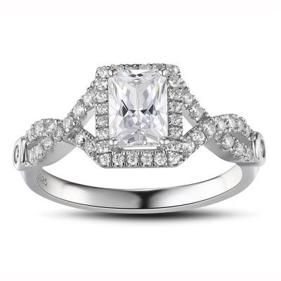 Weißemer Saphir Sterling Silber mit SmaragdSchliff Verlobungsringe