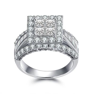 Wunderschöne Princess Schliff 925 Sterling Silber Weißem Saphir Verlobungsringe