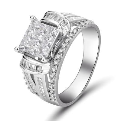 Princess Schliff 925 Sterling Silber Weißem Saphir Verlobungsringe