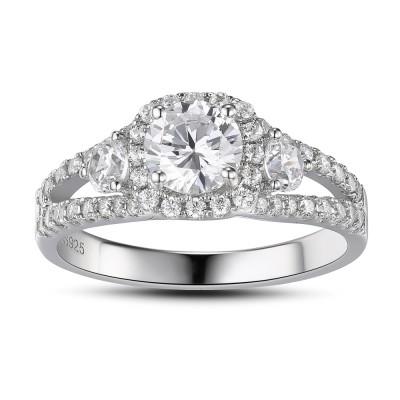 Runder Schliff Weißemer Saphir 925 Sterling Silber Verlobungsringe