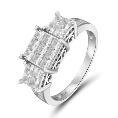 925er Sterling Silber Princess Schliff Weißem Saphir Verlobungsringe