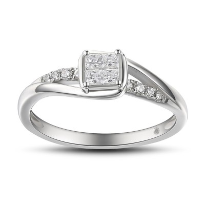 Damen Princess Schliff 925 Sterling Silber Weißemer Saphir Verlobungsringe