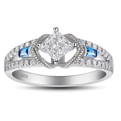 Princess Schliff 925 Sterling Silber Aquamarine saphir Verlobungsringe