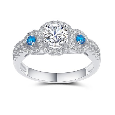 Damen Blau und Aquamarin 925 Sterling Silber Verlobungsringe