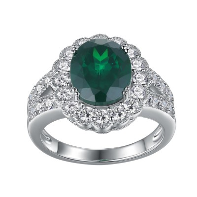 Ovale Schliff Smaragd Weißemer Saphir 925 Sterling Silber Verlobungsringe