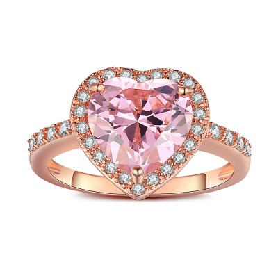 Herz Schliff Rosa saphir RoséGelbgold 925 Sterling Silber Verlobungsringe