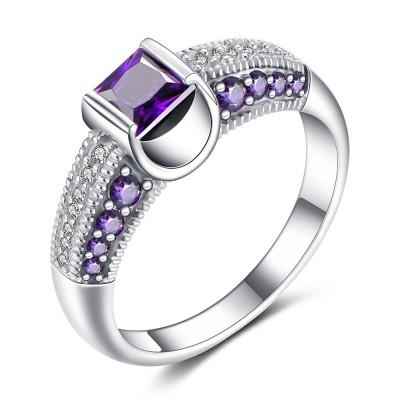 Princess Schliff Amethyst 925 Sterling Silber Verlobungsringe