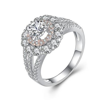 Wunderschöner Runder Schliff Weißemer Saphir 925 Sterling Silber Verlobungsringe