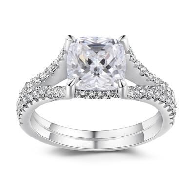 Princess Schliff 925 Sterling Silber Verlobungsringe