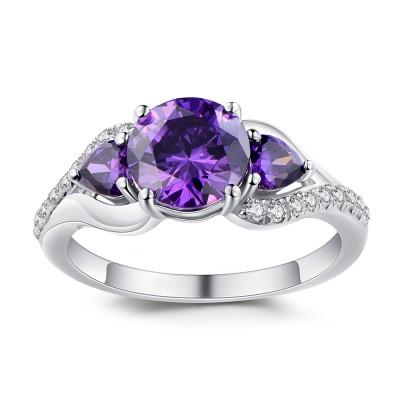 Runder Schliff Amethyst 925 Sterling Silber Versprechen Ringe für Sie
