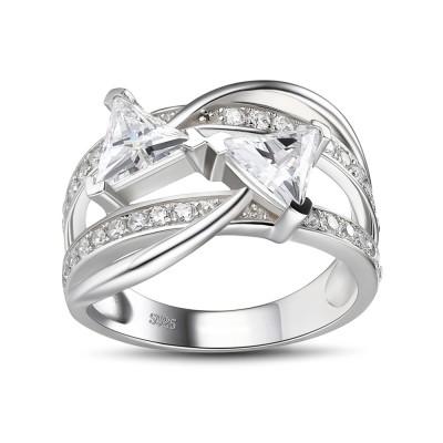 Trillion Schliff Weißem Saphir 925 Sterling Silber Verlobungsringe