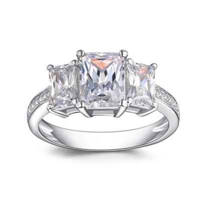 SmaragdSchliff Weißemer Saphir 925 Sterling Silber Verlobungsringe