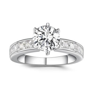 Runder Schliff aus Weißemem Saphir 925 Sterling Silber Verlobungsringe