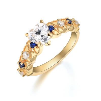 Herz Schliff Weißem Saphir Gelbgold 925 Sterling Silber Verlobungsringe