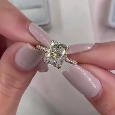 Strahlenden Schliff Weißer Saphir 925 Sterling Silber Gold Verlobungsringe