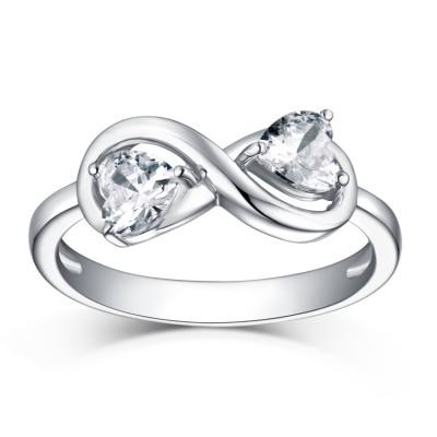 Herz Schliff S925 Sterling Silber Weißemer Saphir Infinity Ringe