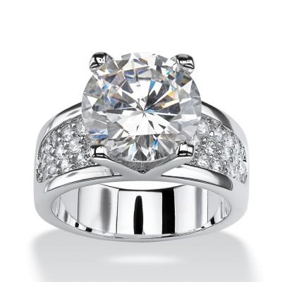 Runder Schliff Weißer Saphir Sterling Silber Klassische Verlobungsringe